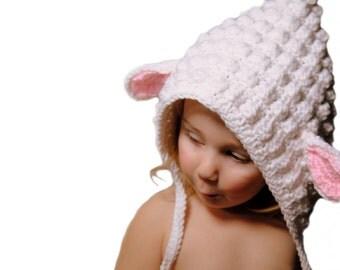 Crochet Lamb Bonnet, Sheep Hat, Knit Lamb Baby Hat, Newborn Photo Prop, Lamb Knit Hat, Sheep Bonnet, Baby Bonnet, Toddler Girls, Infant Girl