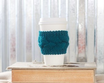 Dark Teal Cable Knit Coffee Cozy w/Wood Button/ Tea Cozy/ Cup Cozy/ Coffee Cover/ Coffee Sleeve/ Latte Cozy/ Jade Coffee Cozy