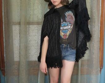 1970s Black Metallic Poncho Sweater Cape Knit Cape Vintage Outerwear Knit Coat 70s Cloak Hippie Poncho Boho Jacket 70s Shawl Cape Fringe