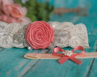 Coral Garter | Garter Set | Ivory Lace Garter | Wedding Garter | Coral Wedding