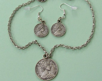 Queen Elizabeth II: Australia 1981 Coin Jewelry Set *money,international,coins,silver jewelry,unique gifts,for teens,fun jewelry,80s,for her
