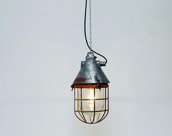 """Pendant industrial  lamp , in  metal :""""Meteor Redstripe""""."""