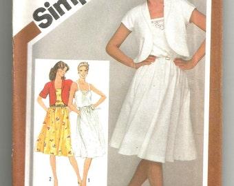 9909 Simplicity Sewing Pattern Pullover Sundress & Unlined Bolero Jacket UNCUT Vintage 1980s