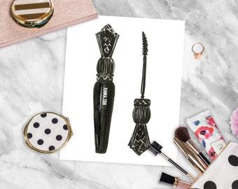 Instant Download, Makeup Illustration, Printable Fashion Art, Chic Wall Art, Clip Art, Printable Fashion Illustration, Anna Sui Mascara
