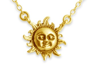 Sun Flare Jump Ring Pendant Necklace #14k Gold Plated over 925 Sterling Silver #Azaggi N0402G