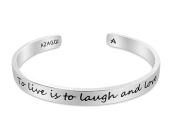 Rhodium To Live is to Laugh and Love Inspirational Cuff Bracelet #Azaggi B0839S
