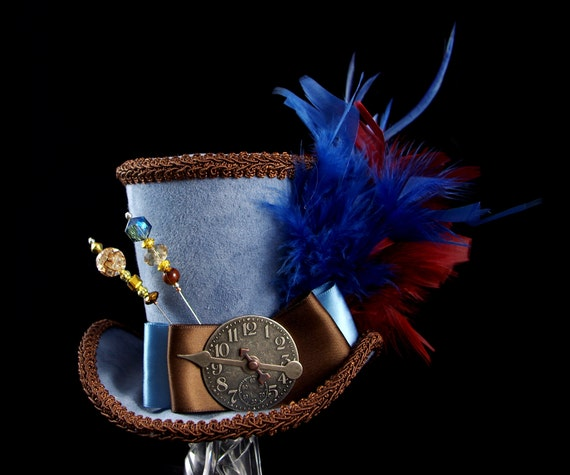 Blue and Brown Empress Collection Large Mini Top Hat Fascinator, Alice in Wonderland, Mad Hatter Tea Party, Derby Hat