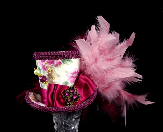 Wine, Dusky Pink, and White Floral Medium Mini Top Hat Fascinator, Alice in Wonderland, Mad Hatter Tea Party, Derby Hat