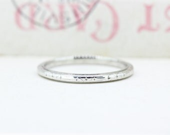 Antique Wedding Ring | 1920s Eternity Band | Art Deco Wedding Band | 18k White Gold Ring | Thin Gold Ring | Dated '11-9-27' | Size 6.75