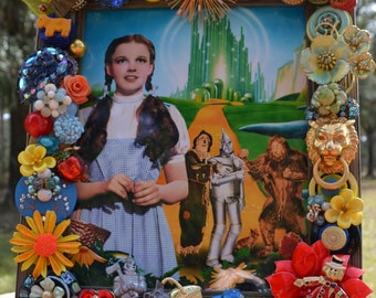 Wizard of Oz 8 x 10 Frame For Sale Embellished with Vintage Buttons and Baubles Free Shipping