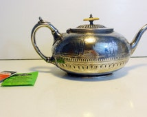 Antique Shaw & Fisher Sheffield Teapot/Coffee Pot - Art Nouveau Teapot Bakelite Knob - Unique Shape w/ Ornate Design Silver plate Teapot