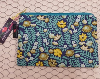 Zipper pouch, Makeup bag, Pencil pouch, Floral, Tula Pink