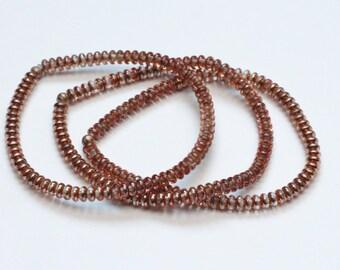SET of 3 jewelry boho skinny layering bracelets / rose glass bracelets / stretch bracelets / minimalist jewelry #489