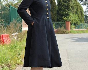Knee length coat, Flared Peacoat, womens coats, high neck coat,  chinese collar coat, black coat, below knee coat