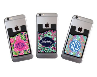 Valentine's Gifts for Her Personalized Cell Phone Card Caddy Phone Wallet Custom Preppy Card Holder ID Credit Card Student ID Holder