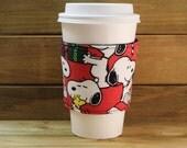 Fabric Coffee Cozy / Snoopy Christmas Coffee Cozy / Snoopy Coffee Cozy / Peanuts Character Coffee Cozy / Coffee Cozy / Tea Cozy