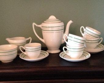 Beautiful English China Pallisy Coffee set c1950s  (in an Art Deco style)