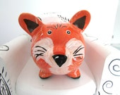 Fox Piggy Bank, Orange and Brown, Hand Painted Piggy Bank, Personalized Bank, Small Ceramic Bank