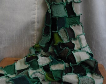 Handmade Patchwork Scarf in shades of green and brown