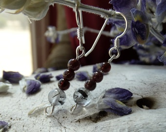 Garnet & Tourmalinated Quartz Sterling Silver Earrings