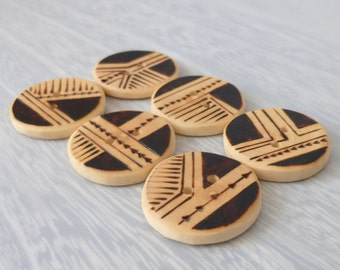 6 Truly Unique Buttons, Handmade Buttons, Sewing Wood Buttons, Tree Branch Buttons, Wooden Buttons 1 Inch/ 25mm, Set of Six
