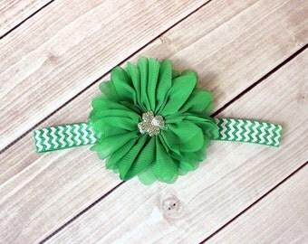 St Patricks Day Headband - Shamrock Headband - Green Headband - Green Chevron Headband - Irish Headband