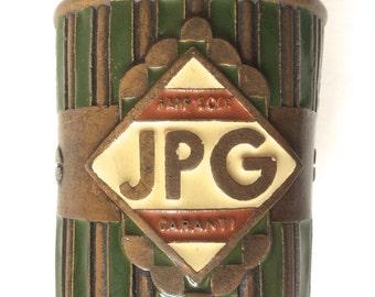 Rare Jean Paul Gaultier enamel metal cuff bracelet 80s Gaultier cuff patinated metal vintage Gaultier brutalist bronze bracelet JPG
