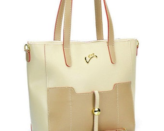 Beige Leather Purse, Leather Handbag, Women Shoulder Bag, Leather Tote, Summer, Eco Friendly Leather, Made In Europe