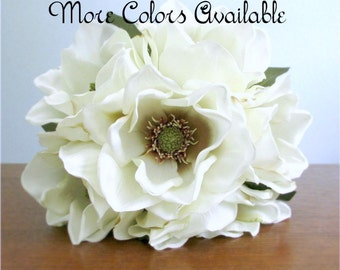 "Silk Magnolia Bouquet, Bridal Bouquet, Ivory, Red, or Tan, Southern Wedding, Choice of Size and Color, ""Charm"""