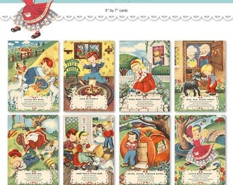 "Nursery rhyme cards / printable Mother Goose wall hangings  / eight 5"" by 7"" wall art digital prints / wall decor / flashcards"
