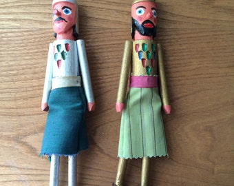 Set of 2 Vintage Wooden Folk Figurines in Silver and Gold