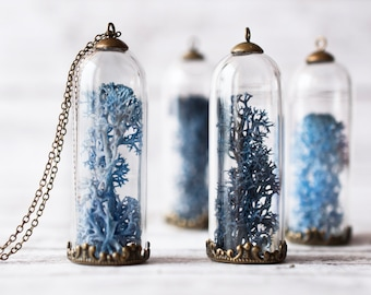 Blue Moss Bottle Necklace - Colored Moss Bottle Pendant, Botanical Necklace, Moss Vial Jewelry