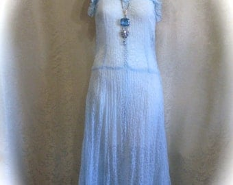 1930s Vintage Dress Ethereal Sky Blue Sheer Voile with Glass Buttons