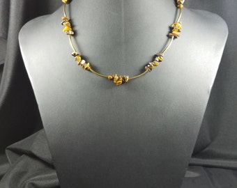 Tigereye and Gold Tube Necklace