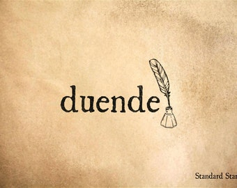 Duende Spanish for the Power of a Work of Art Rubber Stamp - 2 x 1 inches