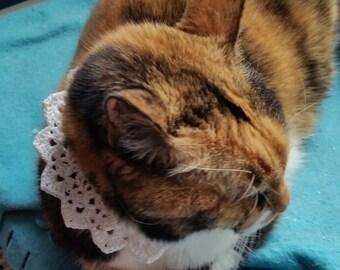 Peter Pan Lace Crochet Cat Collar Necklace