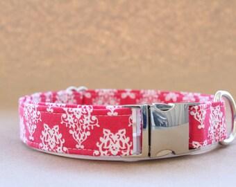 Pink Damask Dog Collar