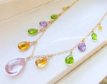 Citrine peridot amethyst quartz statement necklace OOAK briolettes