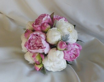Peony Wedding Bouquet Pink and White