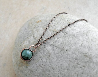 African Turquoise Wire Wrapped Pendant, Sterling Silver, Copper, Simple, Minimalist, delicate, feminine, green, round, Throat Chakra