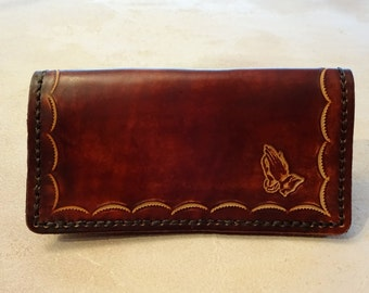 Tooled Brown Leather Checkbook Cover - Praying Hands