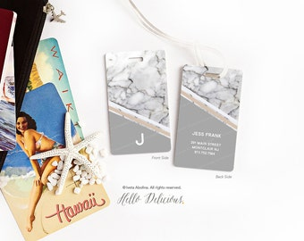 Custom Monogram Bag Tag Luggage Tag Marble Print Gym Bag Tag Personalized Identification Tag Grey Marble Print Golf Bag Tag N15