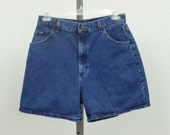"Vintage 90s Lee High Waisted Denim Shorts, Blue Jean Shorts, High Rise Shorts, High Waist Shorts, 32"" Waist"