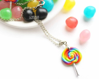 Rainbow Lollipop Necklace, Silver Charm Necklaces, Rainbow Jewelry, Cute Necklaces, Candy Jewelry, Candy Necklace, Gifts for Girls, Kawaii