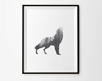 Wolf Shaped Forest Photography,  5 x 7 in, 8 x 10 in, 11 x 14 in, Black and white Photography, Wolf art, Wolf art print, Wolf printable
