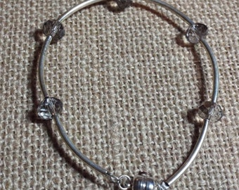 Silver Bracelet Smokey Crystal Bead Count Your Blessings #381
