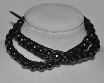 Double Wrap Bracelet Hematite Crystal #538