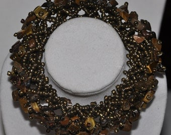 Stretch Bracelet Woven Lattice Tigers Eye Brown Bead  #564