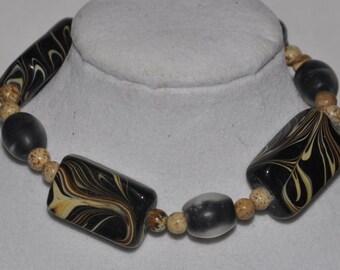 Stretch Bracelet Glass Jasper #541