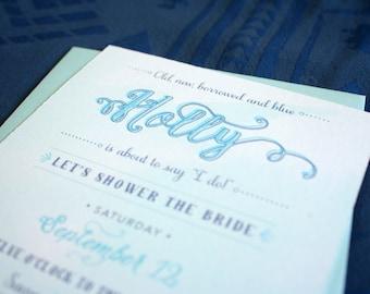 Something Borrowed Something Blue Bridal Shower Invitation